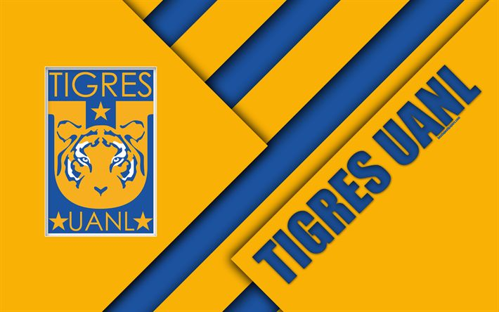 Download wallpapers UANL Tigres FC, 4k, Mexican Football Club, material design, logo, blue yellow abstraction, Monterrey, Mexico, Primera Division, Liga MX, Tigres UANL