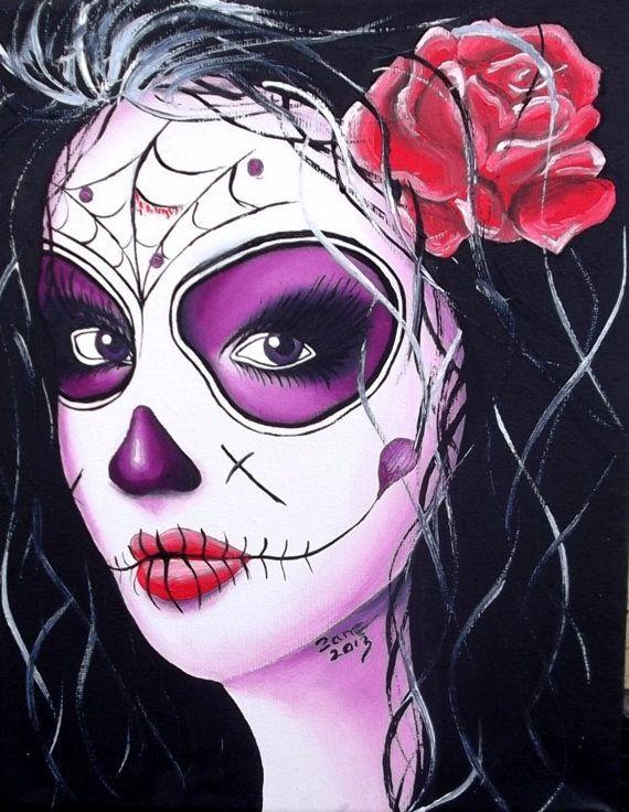 DAY OF the DEAD sugar skull girl tattoo original oil by BiZaArt, $35.00
