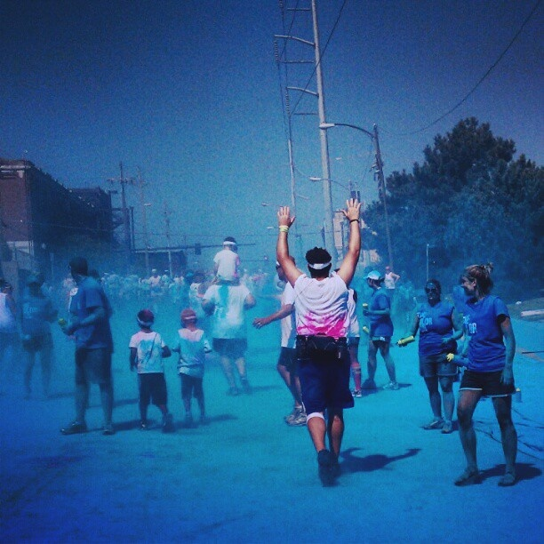 """""""My brother-in-law, my sister, their children and I all participated in the Color Run this past weekend in Omaha, Ne. This is a picture of my brother-in-law running into the blue station."""" - amatousek2009 #Mashpics"""