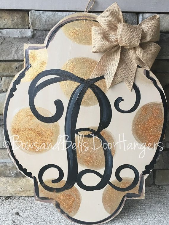 Rustic monogram door hanger Monogram Door sign by BowsandBellsHangers  Wedding gift door hanger