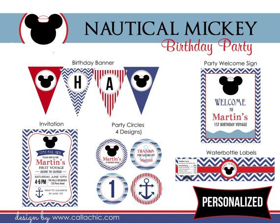 Nautical Mickey Birthday Party Package PRINTABLE (Navy Blue & Red) Elegant Mickey Mouse - Chevron Stripes (Personalized)