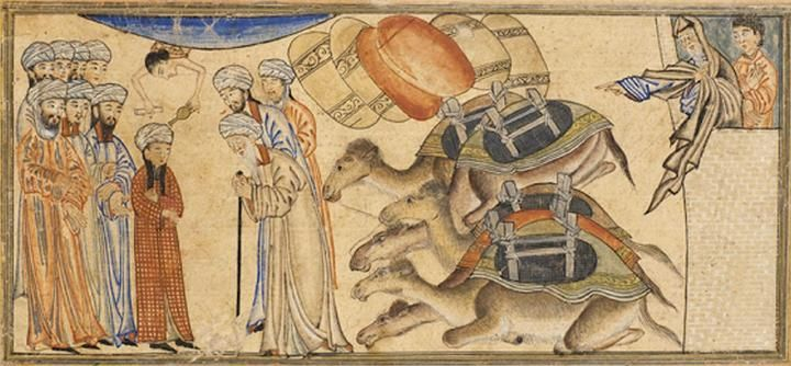 """A young Mohammed being recognized by the monk Bahira. Miniature illustration on vellum from the book Jami' al-Tawarikh (literally """"Compendium of Chronicles"""" but often referred to as The Universal History or History of the World), by Rashid al-Din, published in Tabriz, Persia, 1307 A.D. Now in the collection of the Edinburgh University Library, Scotland."""