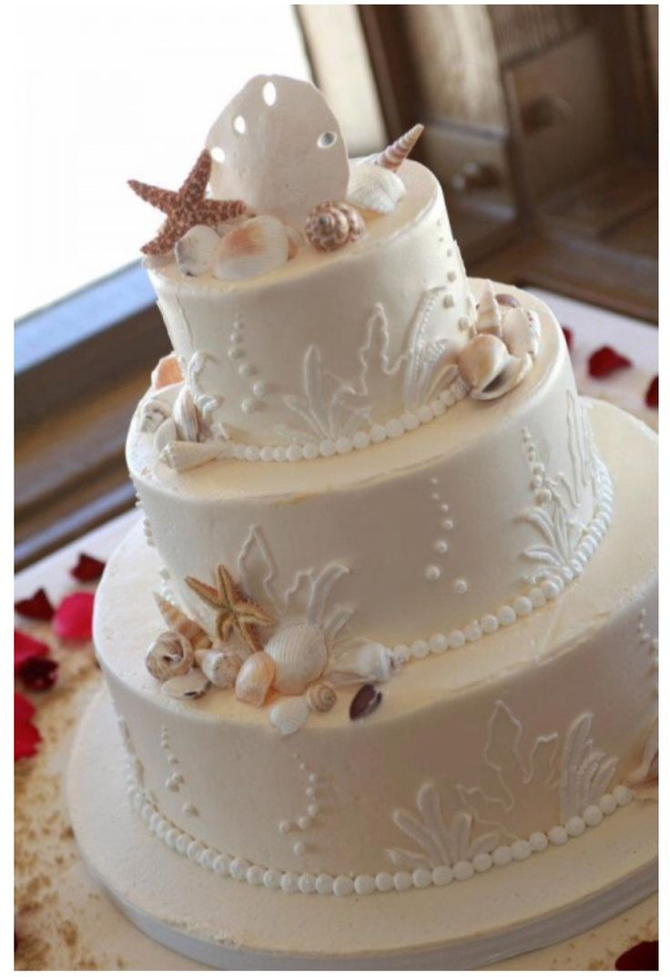wedding cakes in lagunbeach ca%0A Beautiful Classy Beach Wedding Cake or other Special   Beach   Occasion