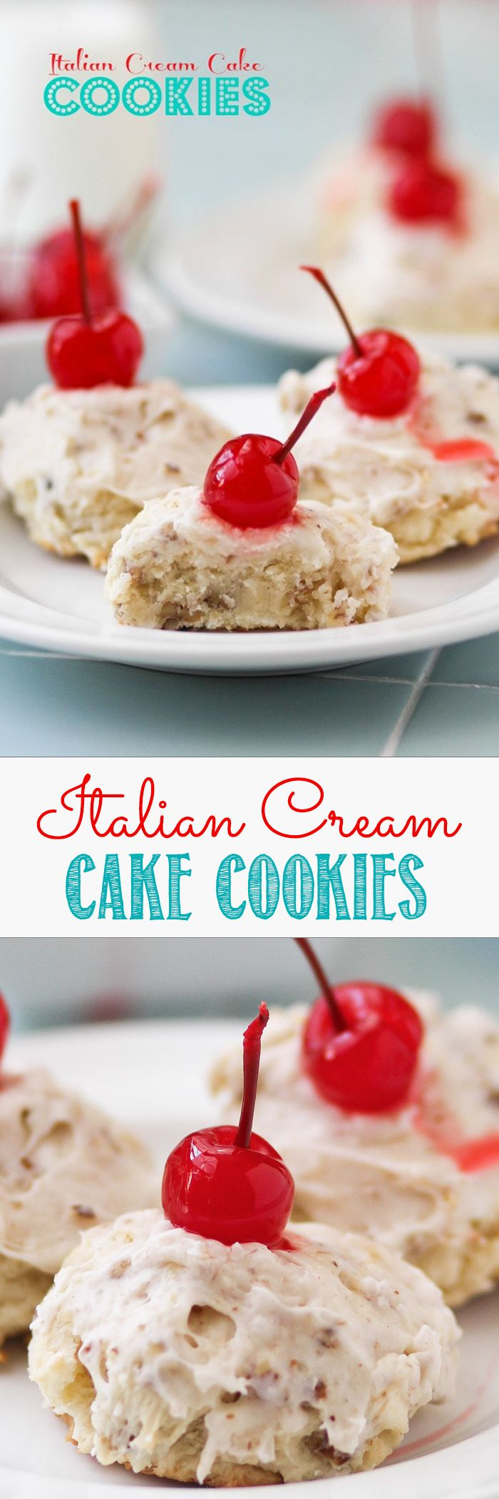 ITALIAN CREAM CAKE COOKIES -- soft little bites full of coconut and pecans and finished with a cream cheese glaze. The glaze sinks in to the top of the cookies making them so moist and yummy.