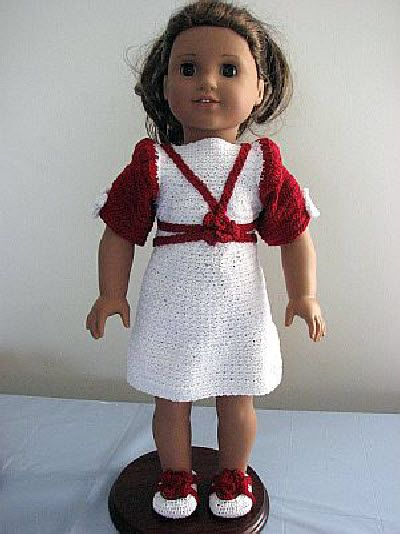 PARTY DRESS: http://donnascrochetdesigns.com/more/american-girl-doll-party-dress-free-crochet-pattern.html