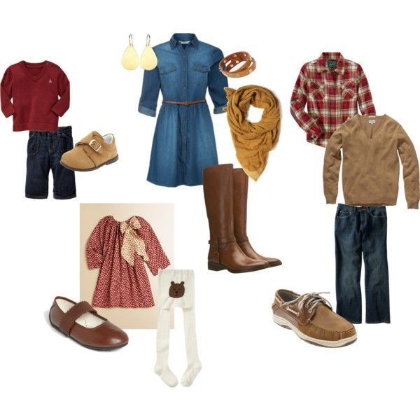 Not too matchy, matchy, but everything is coordinating so well. There are a ton of textures and the layers are great. Even if these aren't the colors you like or the denim dress isn't your style, this is a great starting point for your family .