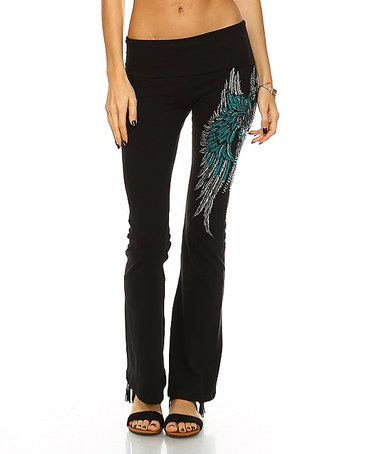 Another great find on #zulily! Black Rhinestone Winged Cross Yoga Pants #zulilyfinds
