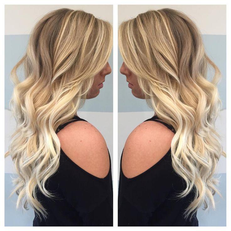 Bright blonde balayage by Britney! #alexandriasbeautysalon #aveda #avedablonde #avedacolor #bumbleandbumble #balayage #blondehair #brightforfall