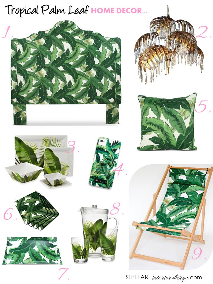 """Palm leaf, Palm beach decor, Palm beach style, Palm Springs, Decorating ideas for the home, e-decorating, Home Accessories, Get the Look, www.stellarinteriordesign.com/tropical-palm-leaf-decor/"""