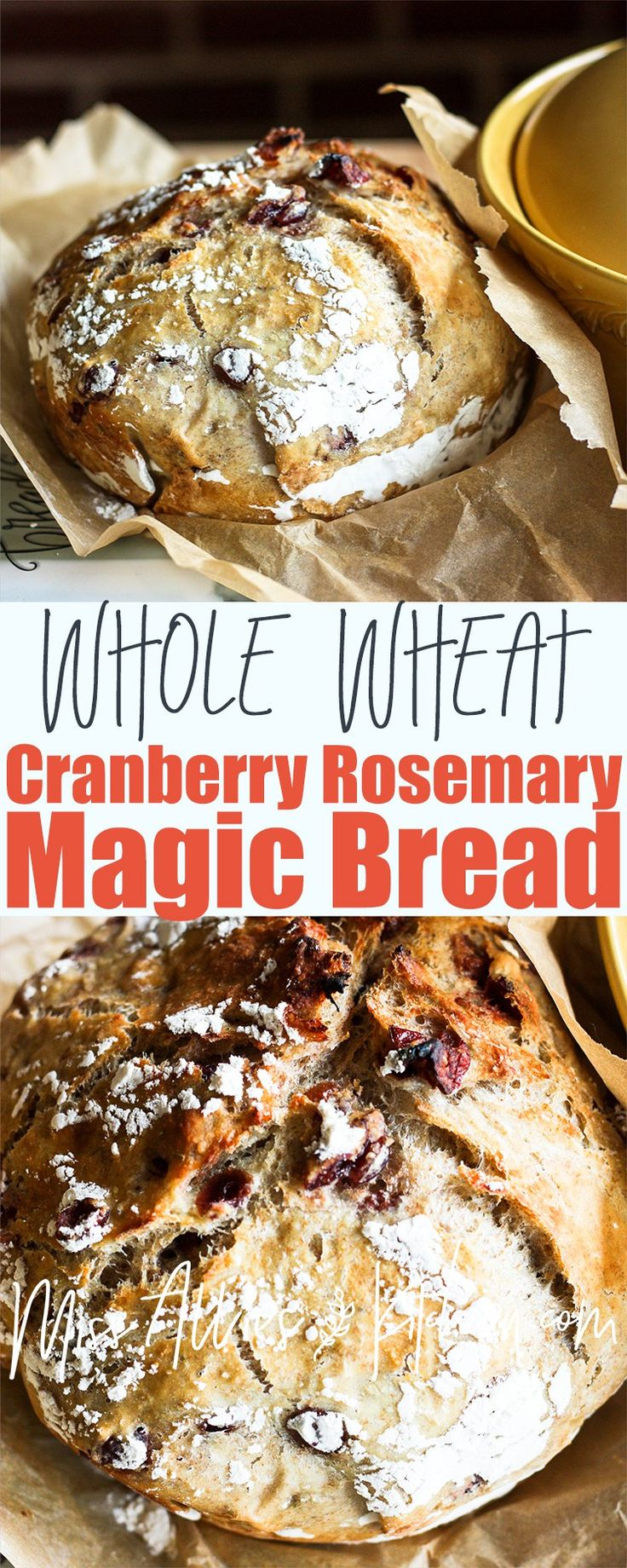 Whole Wheat Cranberry Rosemary Magic Bread! Easy, simple & no-knead!