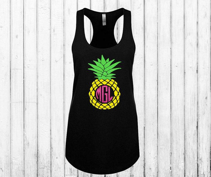 Pineapple Monogram Tank Top!  Adorable Pineapple Tank for Summer!  Glitter Vinyl, Choose your Colors!  Flowy Workout Racerback Tank Shirt by Personily on Etsy https://www.etsy.com/listing/520000032/pineapple-monogram-tank-top-adorable