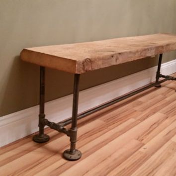 Barn Wood Rustic Bench 4 Foot Reclaimed Salvaged Barnwood Industrial Farm  House Urban Black Iron Pipe