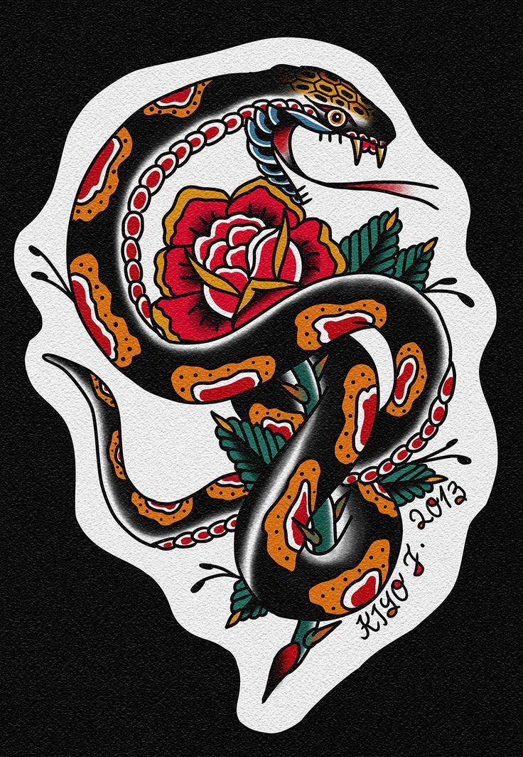 Snake Tradicional Tattoo Old Schooltraditional Tattoo Tatuajes