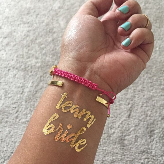 Gold Metallic Flash Bachelorette Tattoos, Team Bride