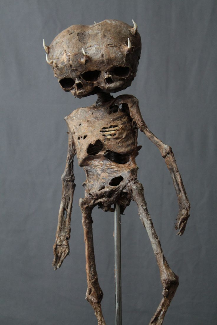 """18"""" long mummified demon baby with articulated joints, 3 eyes and 6 horns…"""