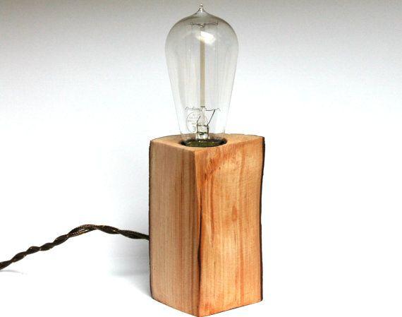 Simple Lampe de chevet lampe Edison lampe de table ampoules legno lampe bois