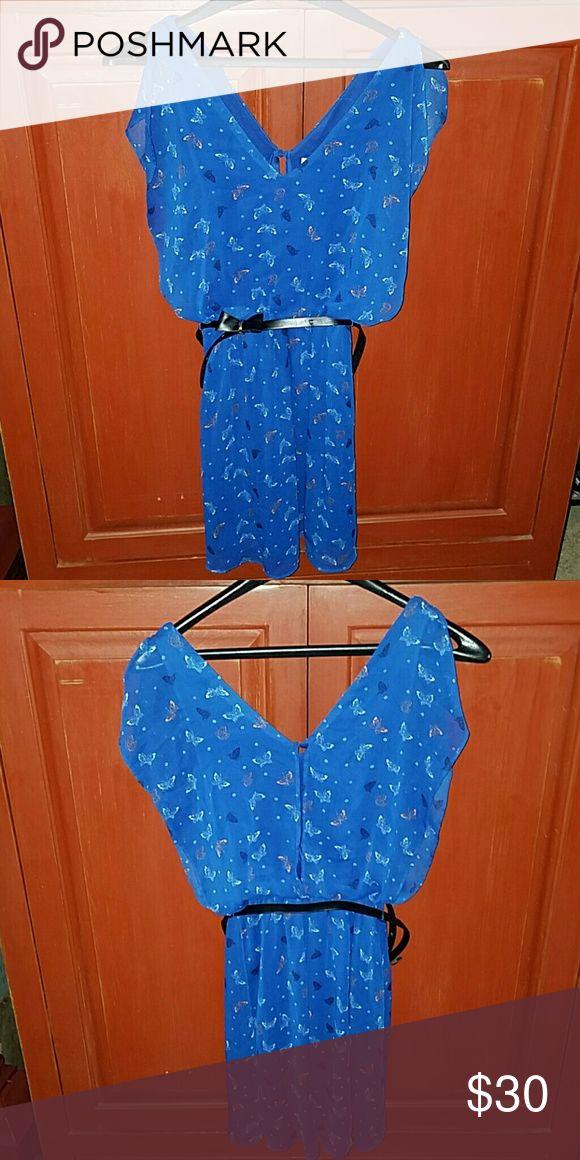 Summer Dress Junior Summer Dress, polyester lining,  butterfly print, black bow belt around waist, great condition, worn once. Candie's Dresses Midi