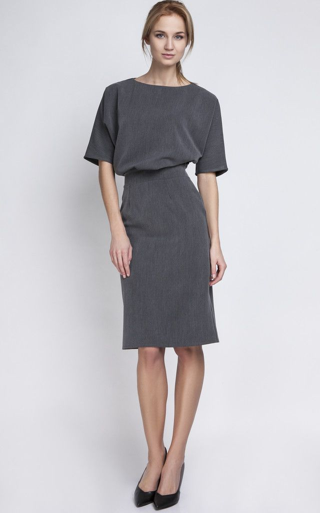 Charcoal Fitted Midi Dress - SilkFred