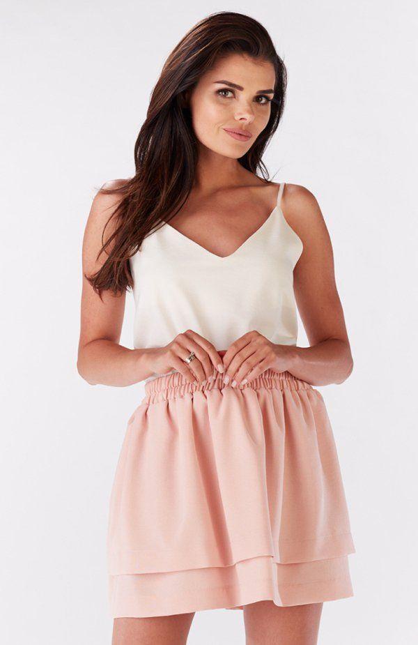 Awama A179 spódnica Piękna mini spódniczja, jednolity materiał, ozdobne podwójne falbany
