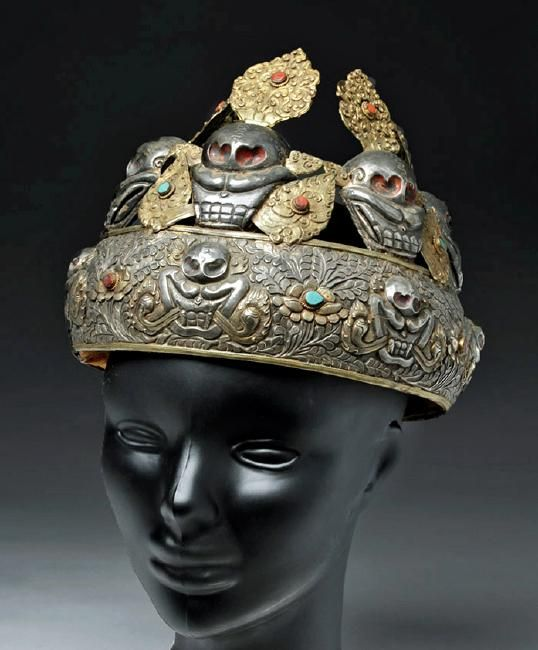 www.liveauctioneers.com item 52118470_19th-c-tibetan-gilded-silver-5-skull-oracle-crown?classic=true