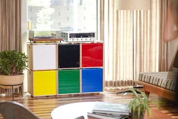 Stackable Vinyl Record Storage Cube by SimpleWoodGoods on Etsy