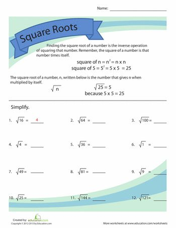 Worksheets: Simplifying Square Roots