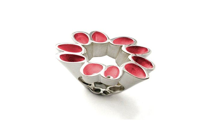 Sponge 36 ring. Silver and enamel. By Stefania Lucchetta Design