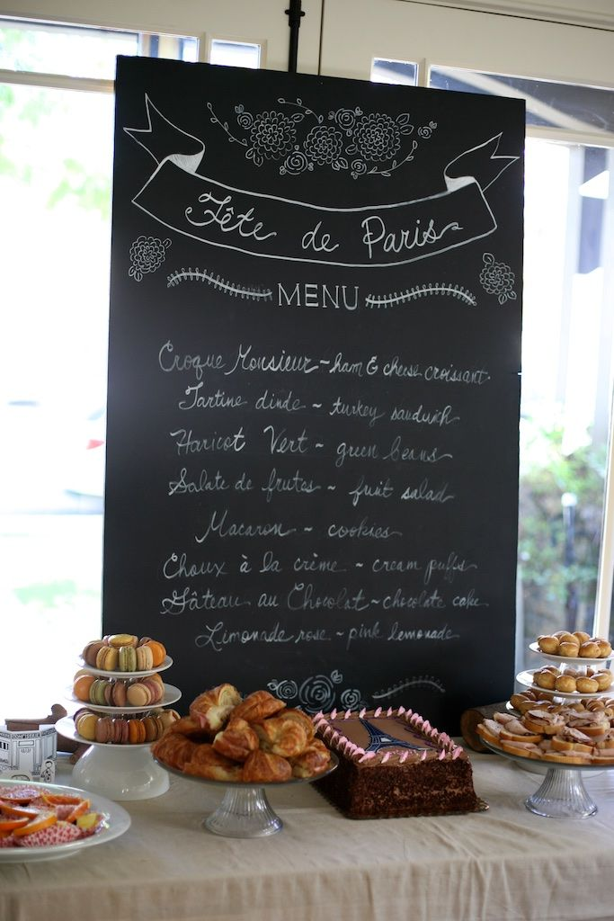 Easy Chalkboard Menu DIY for any Kids party, but especially cute for this Paris themed one