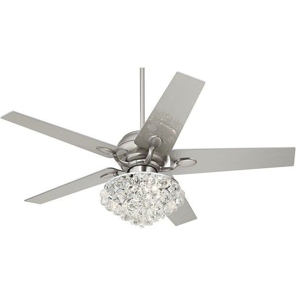 """Casa Vieja 52"""" Casa Optima� Brushed Steel Crystal Ceiling Fan ($430) ❤ liked on Polyvore featuring home, home decor, fans, ceiling fans, casa vieja ceiling fans, modern home decor, modern ceiling fans, brushed steel ceiling fan and modern home accessories"""