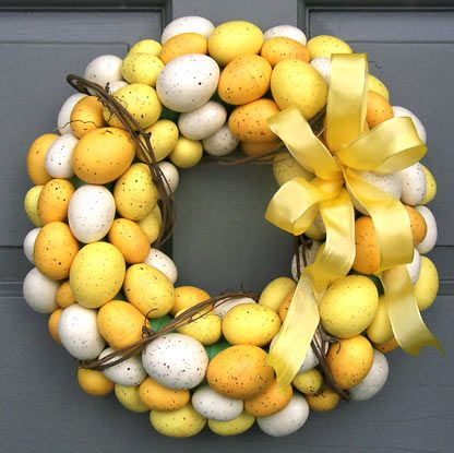 """Faux Yellow Egg Wreath..."" Beautiful wreath.! I L❤ve how the yellows just pop out.!!! Eggs in colors of yellow, cream and gold form a bright wreath to celebrate the spring and Easter seasons..."
