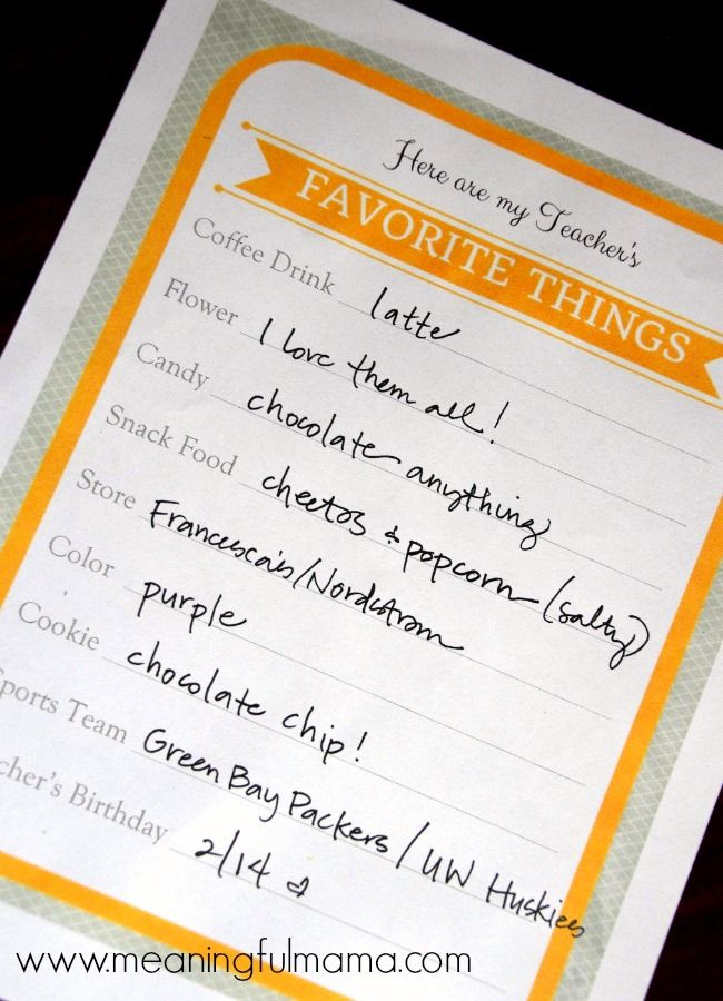 teacher's favorite things printable room mom ideas final