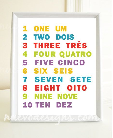 Learn 123 numbers nursery art decor in Portuguese and English - 8x10 print