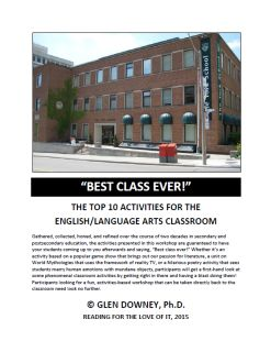 "Available now is the 40-page pdf handout for ""Best Class Ever!,"" the presentation Glen delivered at Reading for the Love of It, 2015. The handout explores 10 activities that are guaranteed to have your students saying ""Best Class Ever."" From looking at names and naming in literature, to game-based activities for teaching adventure novels, this pdf contains a wealth of information and ideas for both new and experienced educators."