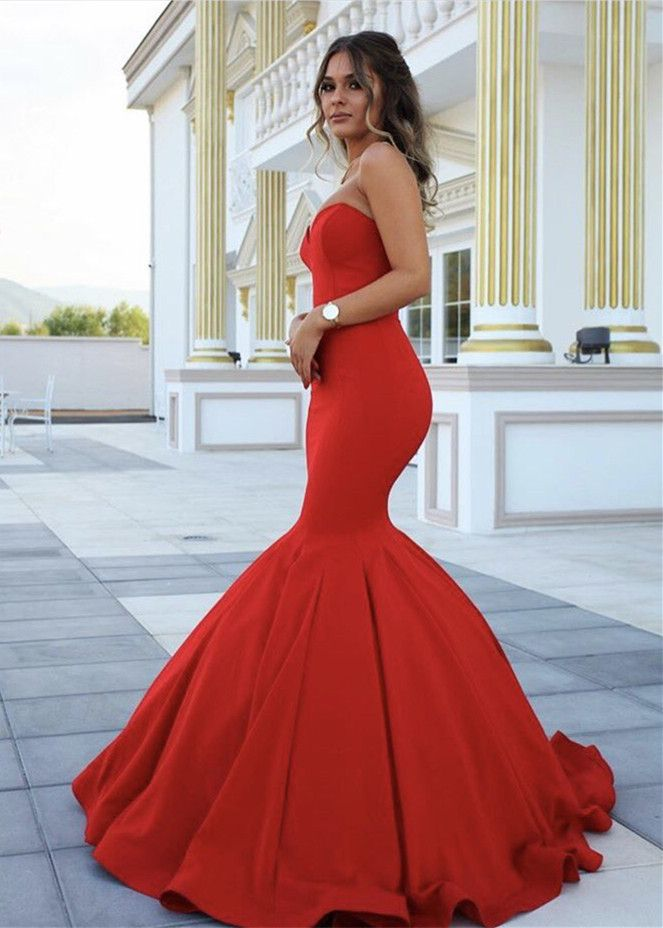 Prom Dresses,Evening Dress,Party Dresses,Sleeveless Mermaid Red Long