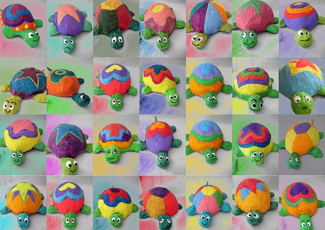 turtles by NeusaLopez, via Flickr  Belly made by paper mache a balloon