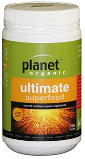 Planet Organic Ultimate Superfood is a complete, formulated, certified organic superfood powder which supplies energy and vitality through highly nutritous foods that are packed with powerful antioxidants and energy boosting properties.