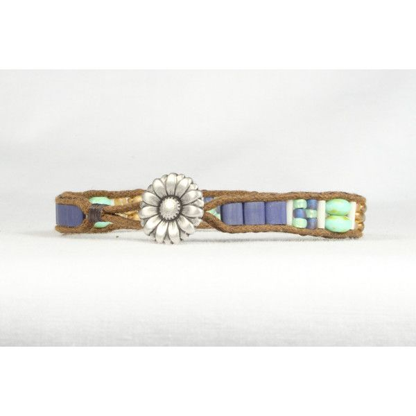 Single wrap bracelet, Blue and mint green bracelet, Flower button,... ($28) ❤ liked on Polyvore featuring jewelry, bracelets, mint jewelry, blue jewelry, blue bangles, mint green jewelry and blue wrap bracelet