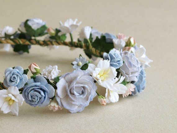 Flower Crown  Serenity blue paper flower head band by SQUISHnCHIPS