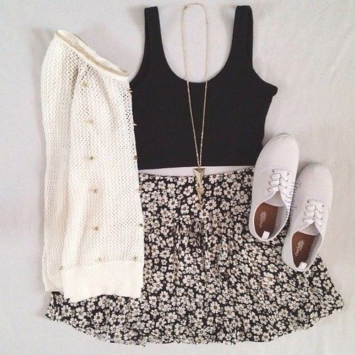 -cute white studded sweater, black crop top, gold necklace, black floral skirt,