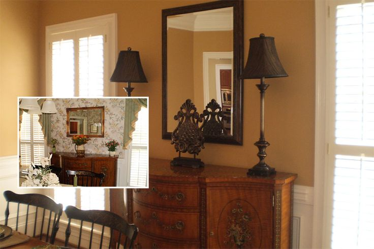 Dining room was painted bridgewater tan by benjamin moore for Old world window treatments