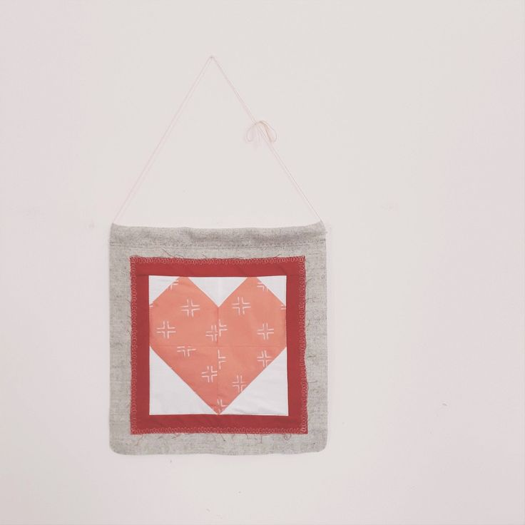 Valentine's Quilted Heart Wall Hanging, Pennant, Banner, Home Decor, Upcycled