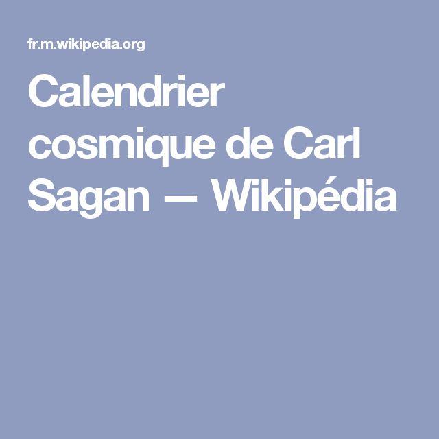 Calendrier cosmique de Carl Sagan — Wikipédia