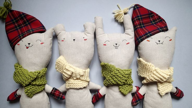 My very first line of handmade cuddlers! Alfonso The Cat, Guido The Bunny, Pietro The Bear.