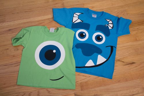 mike and sulley shirts using heat transfer vinyl! so cute!