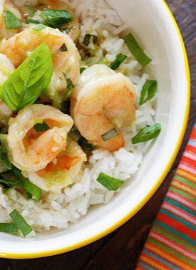 Thai Green Curry Coconut Shrimp with Basil