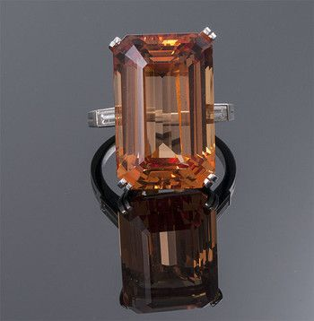 Emerald Cut Imperial Topaz and Diamond Ring T=26.11cts   D=0.80cts app Plat