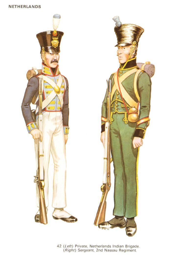 Fuciliere della brigata indiana olandese e sergente del 2 rgt. fanteria di linea nassau