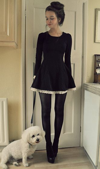 A lovely black dress with white lace peeking out. Pinned for hipster bun and dog.