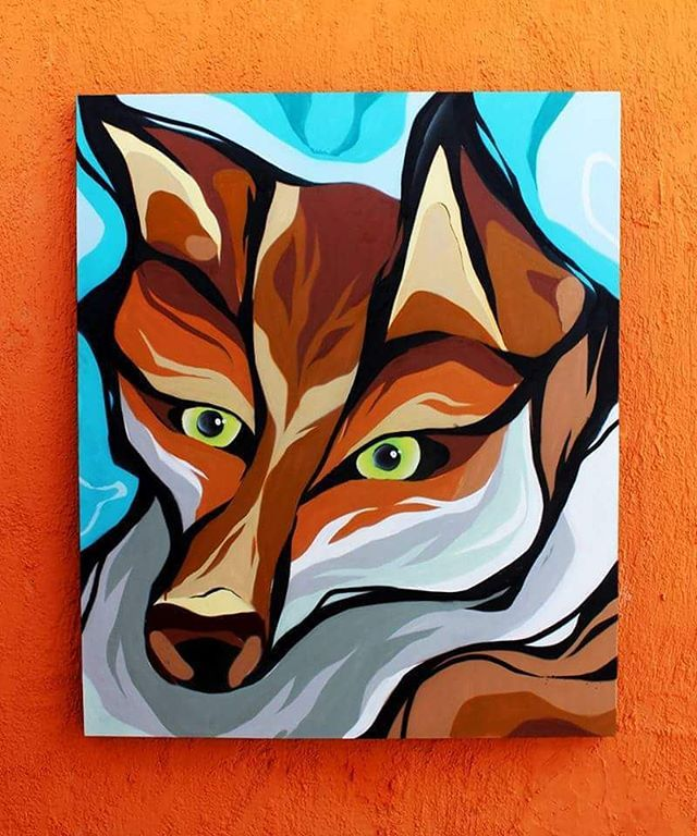 Raposa Vermelha - Spray sobre tela 100x120cm • #fiteart #spray #graffiti #artwork #animalart #art #gallery #streetart #canvas #contrast #design #character #painting #paint #picoftheday #inspiration #fox #animal