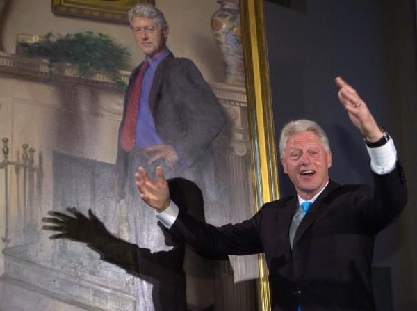 The artist who painted the official White House portrait of President Bill Clinton says he quietly included a reference to the Monica Lewinsky scandal — and the infamous blue dress — in his painting.